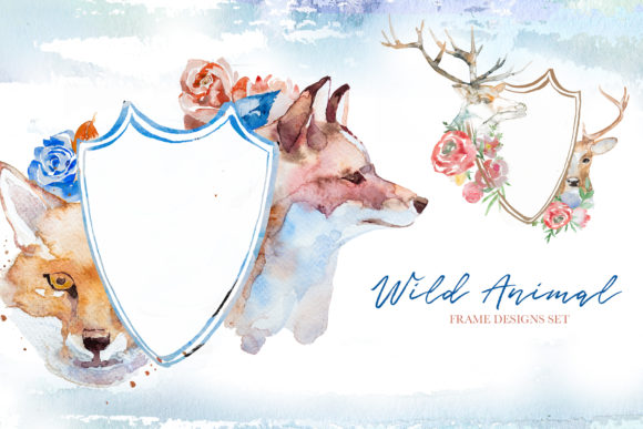 Watercolor Wild Animals Frames Clipart Graphic Illustrations By artcreationsdesign