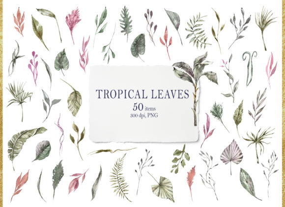 Print on Demand: Watercolor Tropical Green Leaves Clipart Graphic Illustrations By Tiana Geo