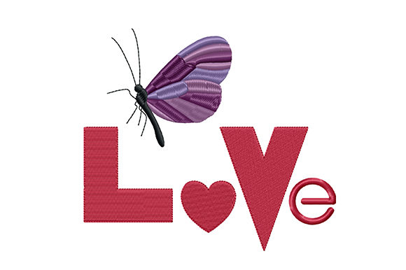 Print on Demand: Word Love and Butterfly Valentine's Day Embroidery Design By EmbArt