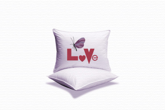 Word Love and Butterfly Embroidery Item