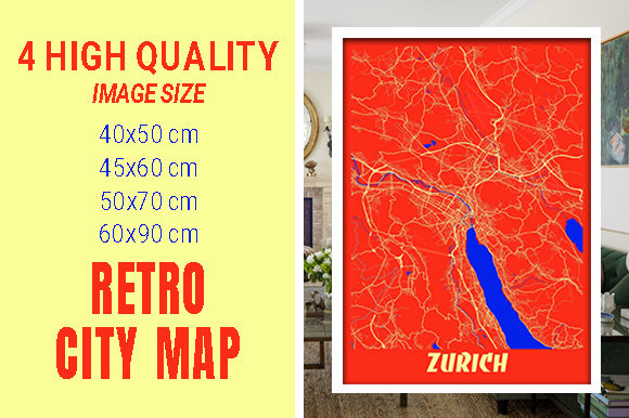 Zurich - Switzerland Retro City Map Gráfico Fotografías Por pacitymap