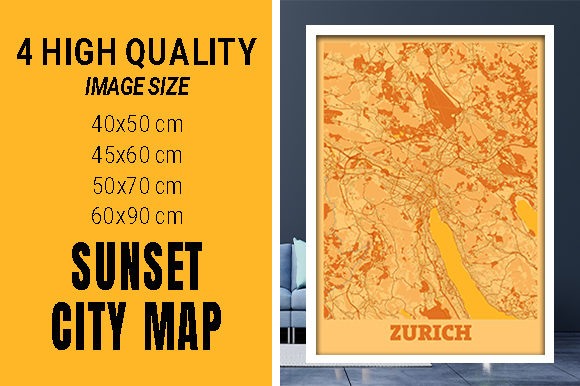 Zurich - Switzerland Sunset City Map Grafik Fotos von pacitymap