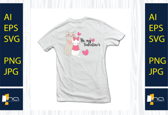 Print on Demand: Cat Valentine with Heart SVG Graphic Illustrations By Na Punya Studio