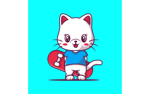 Cute Cat with Skateboard Vector Graphic Illustrations By maniacvector
