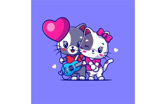 Cute Couple Cat Vector Illustration Graphic Illustrations By maniacvector