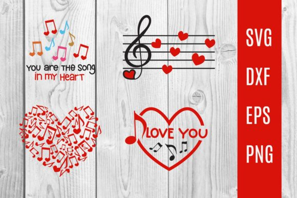 Print on Demand: Music Notes Love, Valentine Music Svg Graphic Print Templates By dadan_pm