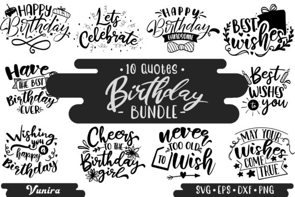 Print on Demand: 10 Birthday Bundle | Lettering Quotes Graphic Crafts By Vunira