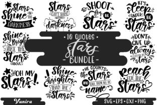 Print on Demand: 10 Stars Bundle   Lettering Quotes Graphic Crafts By Vunira