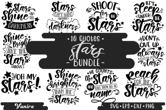 Print on Demand: 10 Stars Bundle | Lettering Quotes Graphic Crafts By Vunira