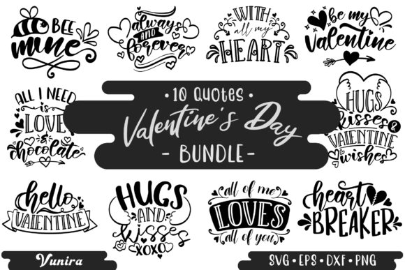 Print on Demand: 10 Valentine's Day | Lettering Quotes Graphic Crafts By Vunira