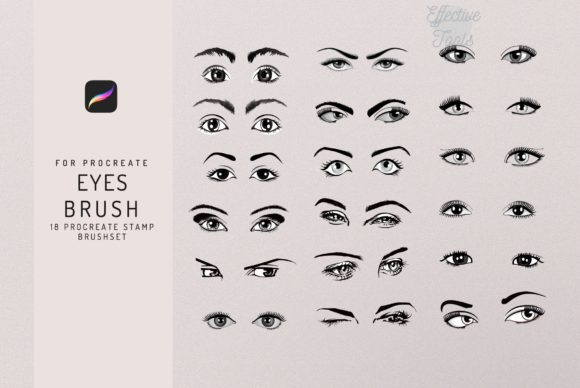 18 Procreate Eyes Stamp Brush Graphic Brushes By EfficientTools