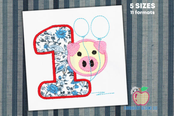 1st Birthday Piggy Applique Design Birthdays Embroidery Design By embroiderydesigns101