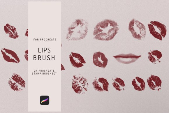 24 Procreate Lips Stamp Brush Graphic Brushes By EfficientTools