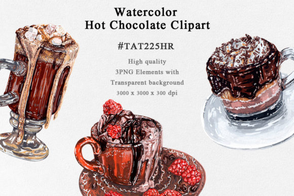 3 Hot Chocolate Watercolor Clipart Graphic Illustrations By Tat225hr