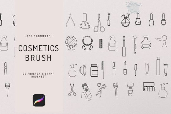 32 Procreate Beauty Set Stamp Brush Graphic Brushes By EfficientTools