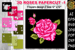 Print on Demand: 3D Valentine Rose Flowers Clipart -1 Graphic 3D SVG By V-Design Creator