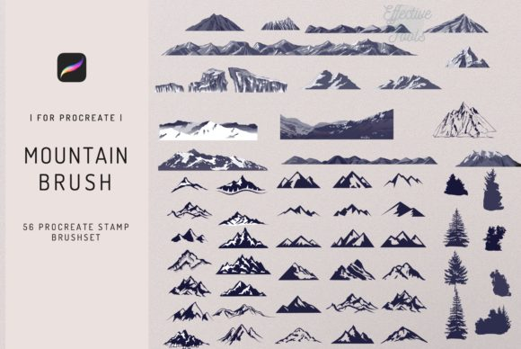 56 Procreate Mountain Stamp Brush Graphic Brushes By EfficientTools