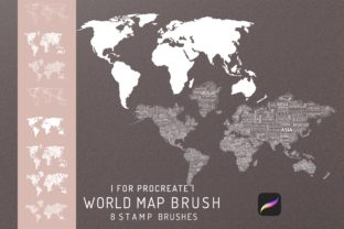 8 Procreate World Map Stamp Brush Graphic Brushes By EfficientTools