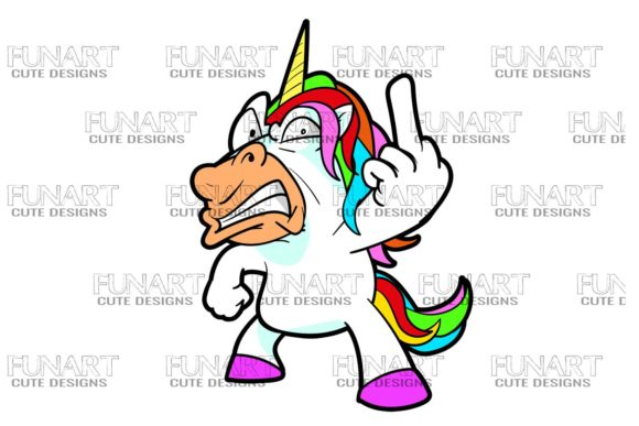 Bad Mood Unicorn , Cool Design , Png Graphic Illustrations By Fundesings