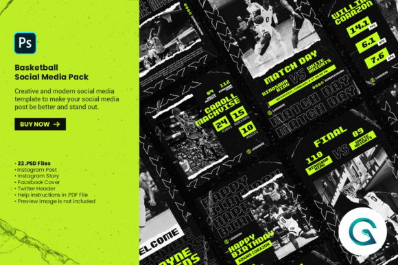 Basketball Social Media Pack Graphic Graphic Templates By geelator