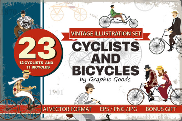 Bicycles Cyclistvintage Illustration Set Graphic Illustrations By Niko Dzhi