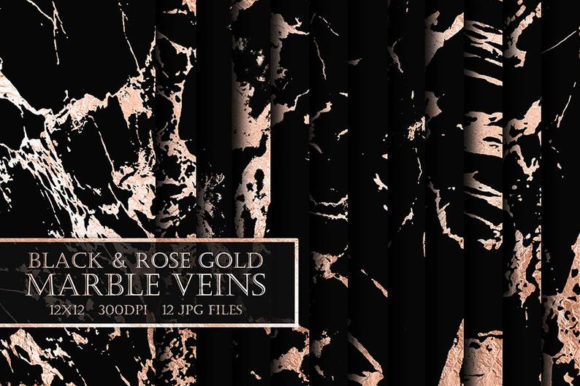 Black & Rose Gold Marble Digital Papers Graphic Backgrounds By ItGirlDigital