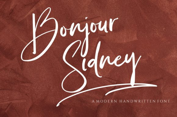 Print on Demand: Bonjour Sidney Script & Handwritten Font By Reyrey Blue