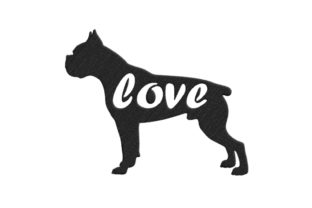 Boxer Silhouette Dogs Embroidery Design By SweetDesign