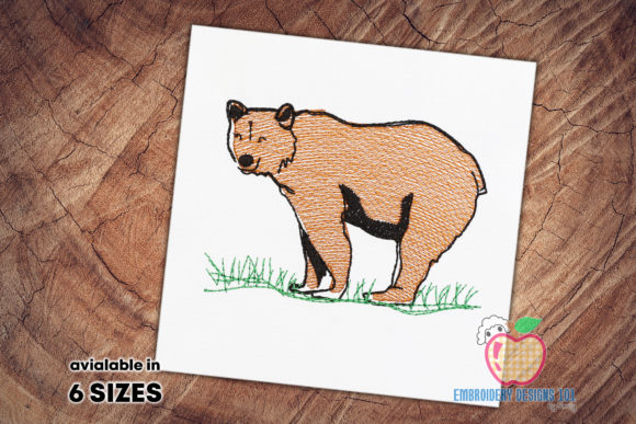 Brown Bear in the Forest Quick Stitch Wild Animals Embroidery Design By embroiderydesigns101