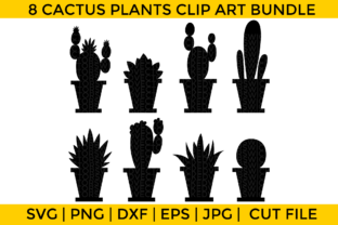 Print on Demand: Cactus Plants Silhouette Bundle Graphic Crafts By Wicked Vectors