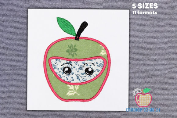 Cartoon Apple Fruit Applique Food & Dining Embroidery Design By embroiderydesigns101