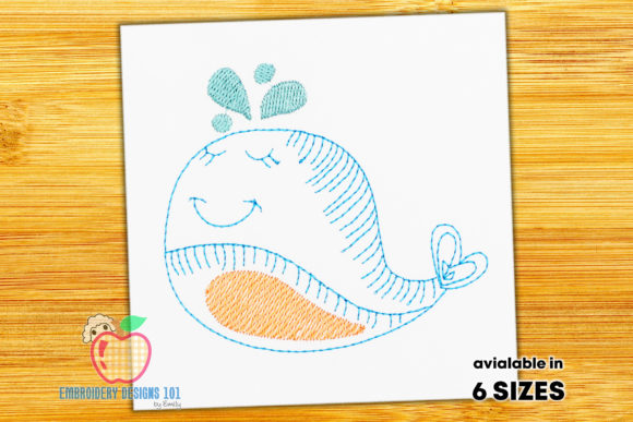 Cartoon Baby Whale Sketch Meeressäuger Stickdesign von embroiderydesigns101