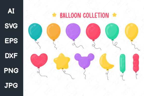 Print on Demand: Cartoon Balloons of Heart Shapes. Svg. Graphic Illustrations By CRStocker