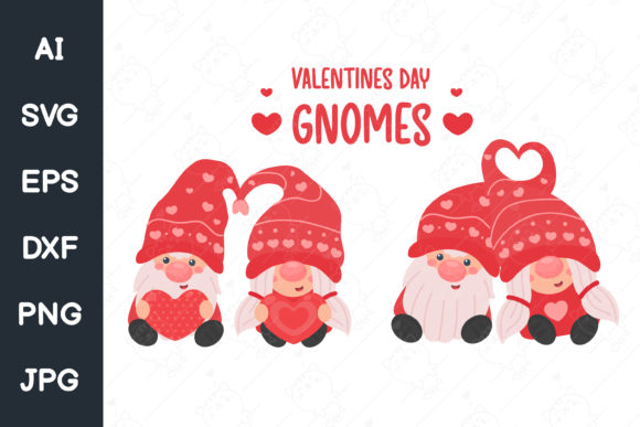 Print on Demand: Cartoon Gnomes Couples in Valentine. Svg Graphic Illustrations By CRStocker