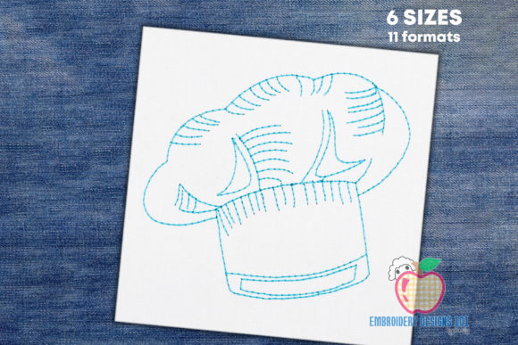 Chef Hat Sketch Accessories Embroidery Design By embroiderydesigns101
