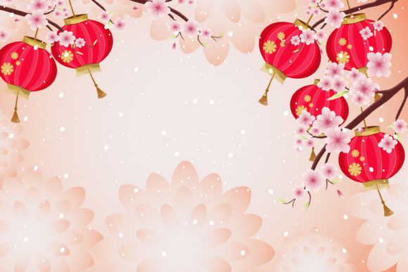 Print on Demand: Chinese New Year with Sakura and Lantern Graphic Illustrations By edywiyonopp