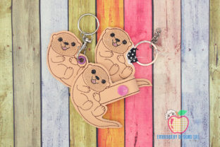 Chubby Otter ITH Keyfob Design Wild Animals Embroidery Design By embroiderydesigns101