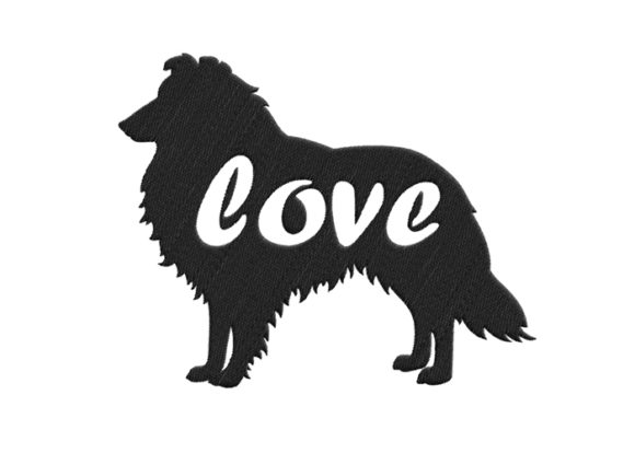 Collie Silhouette Dogs Embroidery Design By SweetDesign