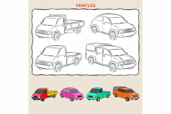 Print on Demand: Coloring Page of Variation Vehicles. Graphic Coloring Pages & Books Kids By Joharium