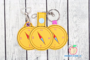 Compass Tool ITH KeyFob Snaptab Work & Occupation Embroidery Design By embroiderydesigns101