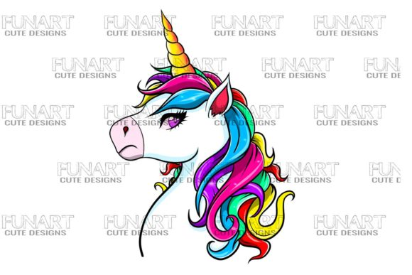 Cool Unicorn , PNG ,Digital Design Graphic Illustrations By Fundesings
