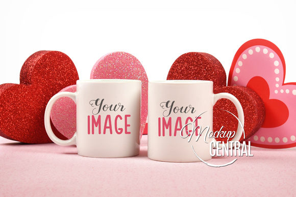 Couple Valentine Coffee Mug Pair Mockup Graphic Product Mockups By Mockup Central