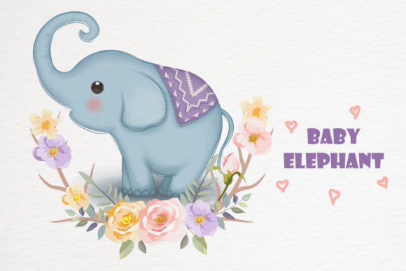 Cute Baby Elephant Clipart Graphic Illustrations By DrawStudio1988