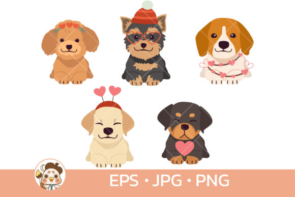 Cute Dog in Valentine's Day Theme Graphic Illustrations By Guppic the duck