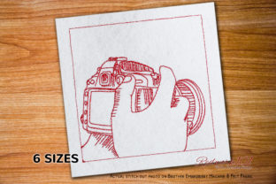 DSLR Camera in Hand Embroidery Design Work & Occupation Embroidery Design By Redwork101