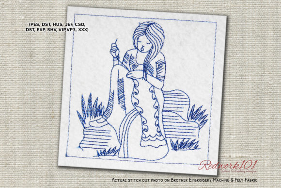 Female Working on a Quilt Redwork Sewing & Crafts Embroidery Design By Redwork101