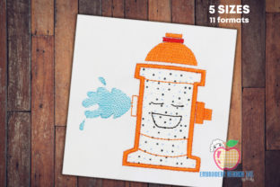 Fire Hydrant with Splashing Water Backgrounds Embroidery Design By embroiderydesigns101
