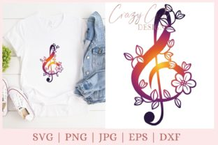 Floral Treble Clef Music Graphic Print Templates By CrazyCutDesigns