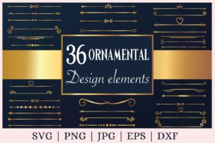 Gold Text Divider Elements Graphic Print Templates By CrazyCutDesigns