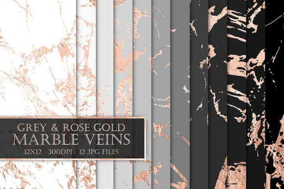 Grey & Rose Gold Marble Digital Papers Graphic Patterns By ItGirlDigital